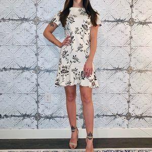Zara Floral Neoprene Frill Dress